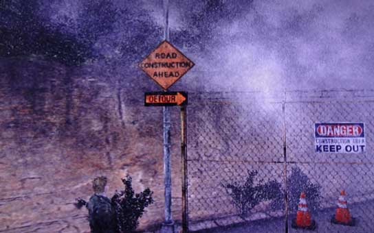 Silent Hill 2 - road construction sign