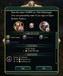 Civilization V: Brave new World - new war declaration dialogue
