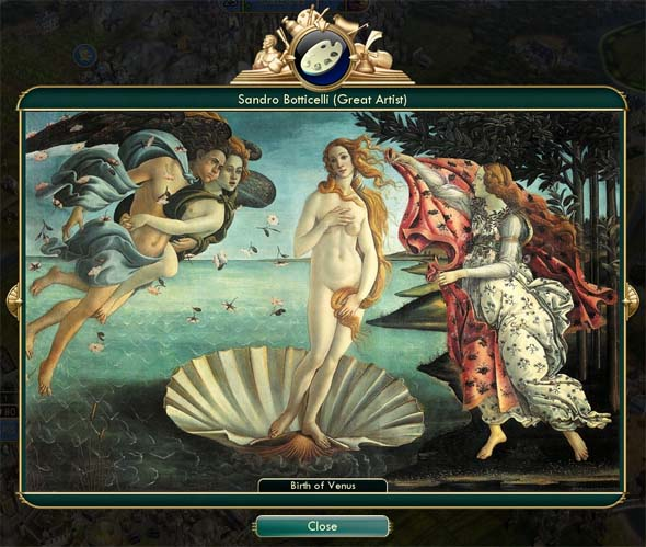 Civilization V: Brave new World - painting of 'Birth of Venus'