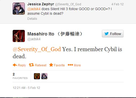 Masahiro Ito confirms Cybil's death on Twitter: 'Yes, I remember Cybil is dead'
