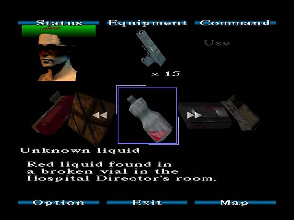 Silent Hill - inventory showing Red Liquid