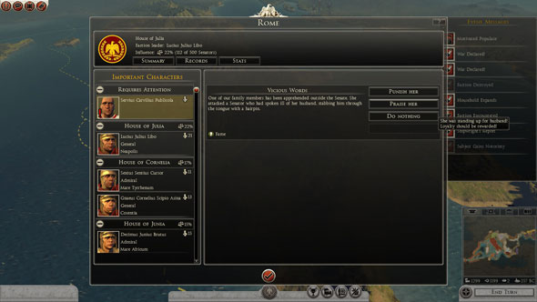 Total War Rome II: political intrigue