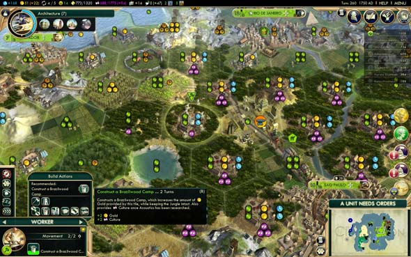 Civilization V: Brave new World - buffed Brazilwood camps
