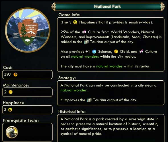 Civ V mod - National Park Updated for Brave New World