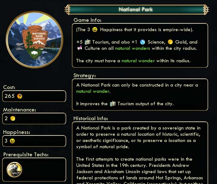 Civ V mod - National Park Updated for Brave New World v4