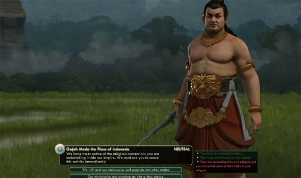 Civilization V - Gajah Mada's religious tolerance