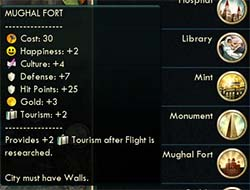 Civilization V - buffed Mughal Fort