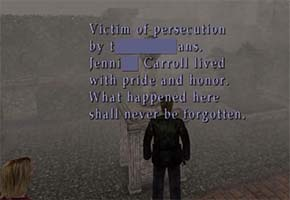 Silent Hill 2 - Jennifer Carroll's tombstone inscription