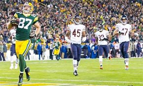 Bears - 14 | Packers - 55 : Jordy Nelson wide open TD reception