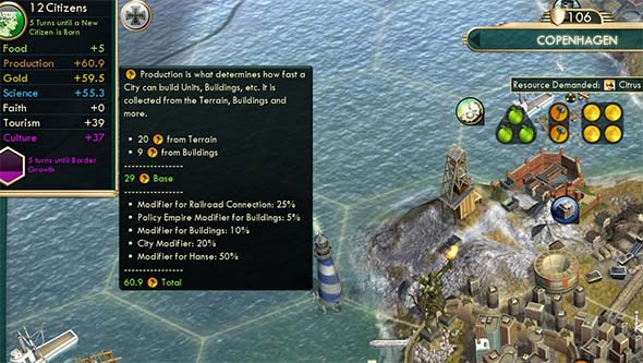 Civilization V - 50% production bonus from Hanse