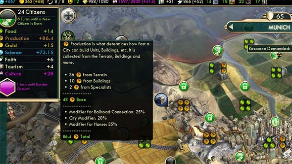 Civilization V - Hanse with railroad bonus