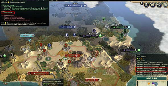 Civilization V - trade routes to and from Morocco