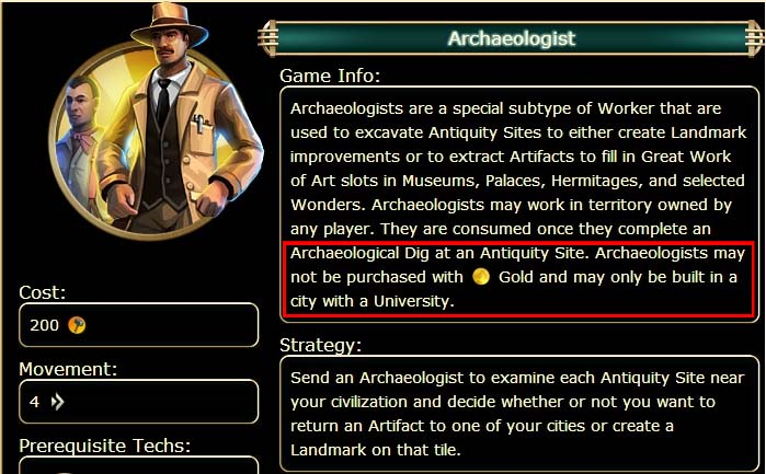 how to build archaeologist civ 6