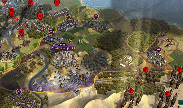 Civilization V - attacking cities with Winged Hussars