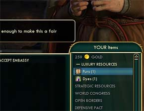 Civilization V - Only 1 Fur is tradeable