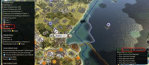 Civilization V - banning luxury does not affect trade value