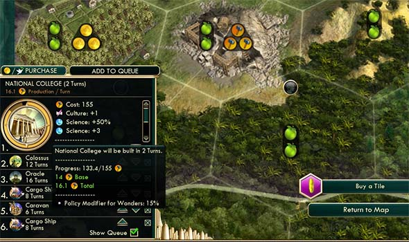 Civilization V - early Venetian build queue