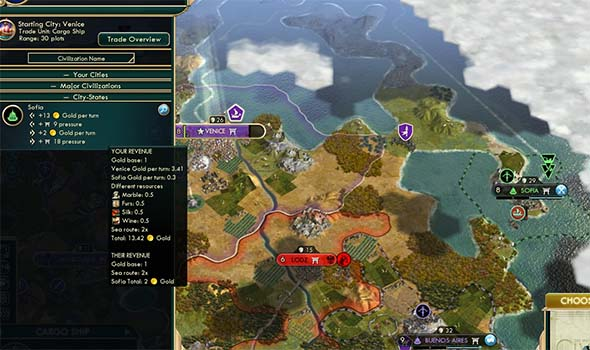 Civilization V - trade route has to sail around peninsula