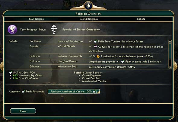 Civilization V - Purchasing Merchants of Venice with faith