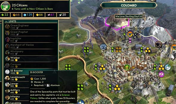 Civilization V - Venetian puppets can buy spaceship parts with Space Procurement