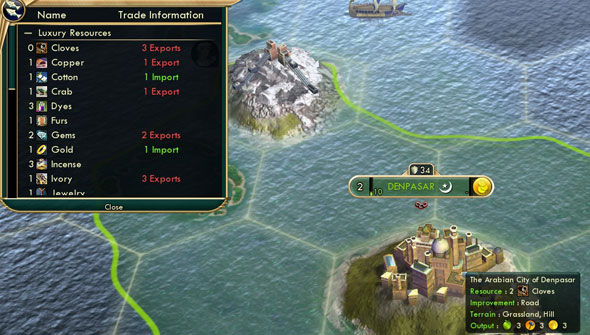 Civilization V - Arabian Bazaar yields extra Cloves from acquired Indonesian city