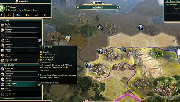 Civilization V - Memphis can build Stone Works