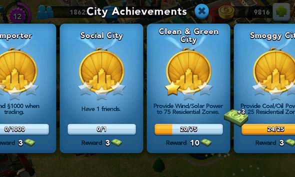 SimCity Buildit - achievements