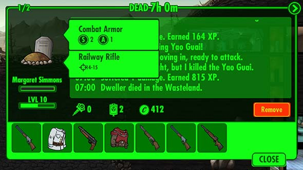 Fallout Shelter - Survival Mode, dead wanderer