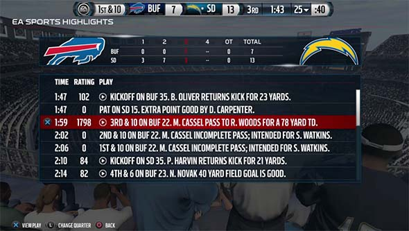Madden NFL 16 - highlight recap screen