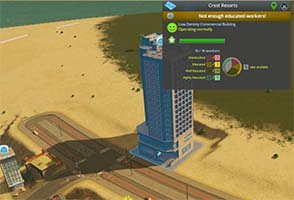 Cities Skylines - hotel requires well-educated workers
