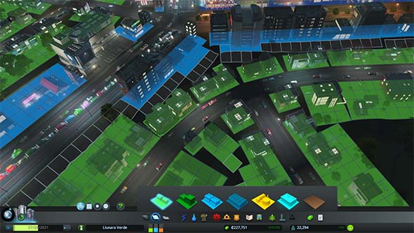 Cities: Skylines - zoning blocks along parallel roads