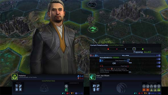 Civilization Beyond Earth: Rising Tide - diplomatic relationship