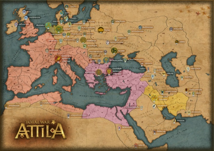 Attilla Total War - faction map