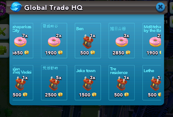 SimCity Buildit - useless exchange items