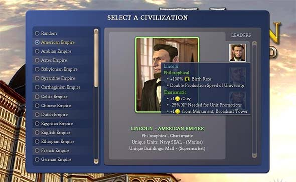 Civ IV - leader select