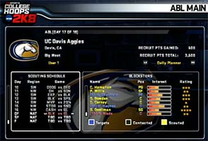 ESPN College Hoops 2k8 - ABL menu