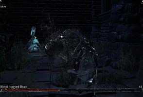 Bloodborne - Alfred interrupting Blood-Starved Beast stun