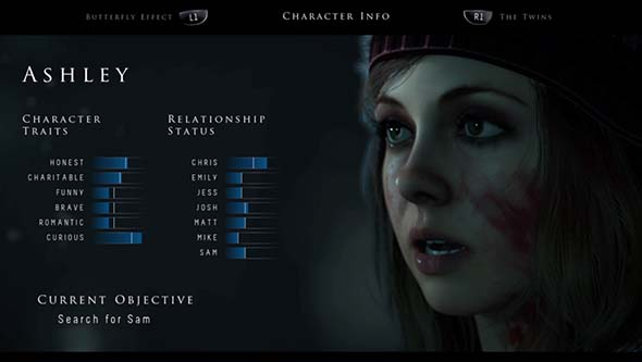 Until Dawn - character attributes