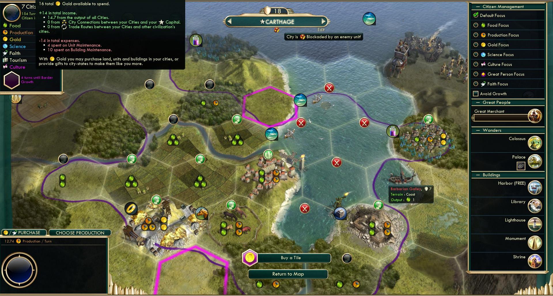 Can T Build Harbor Civ