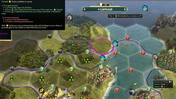 Civilization V - blockading Carthage's port