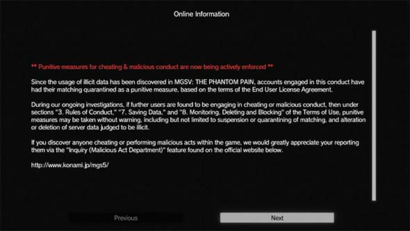 Metal Gear Solid V - online update notifications