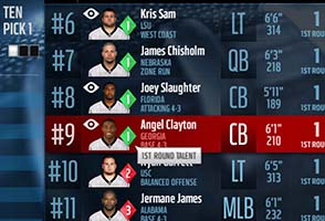 Madden NFL 16 - player's position on draft board