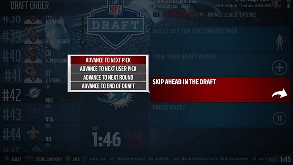 Madden NFL 16 - draft simulation options
