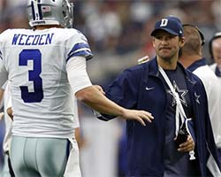 Tony Romo with Brandon Weeden