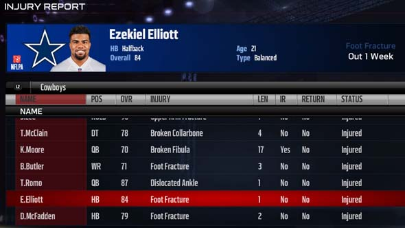 Madden 17 - Ezekiel Elliot injury