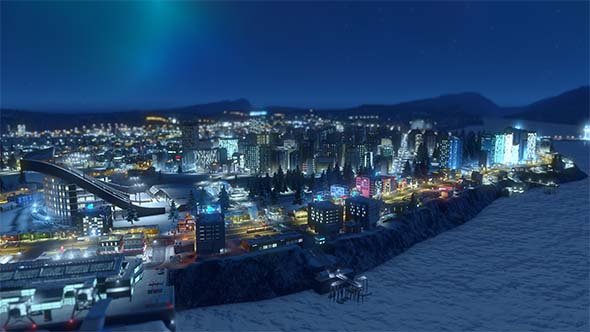 Cities: Skylines: Snowfall - aurora over leisure district