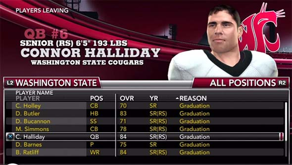 NCAA Football 13 - departing seniors