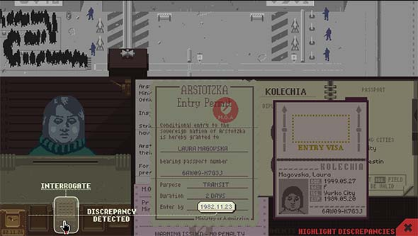 Papers, Please - shuffling paperwork