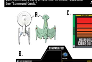 Star Trek: Fleet Captains - manual shows painted miniatures