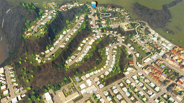 Cities: Skylines - terraced neighborhood